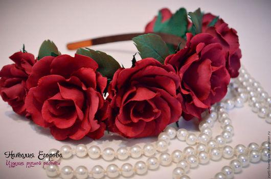 Свадебные украшения ручной работы. Ярмарка Мастеров - ручная работа. Купить Ободок с розами. Handmade. Бордовый, розы, розы из фоамирана