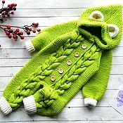 Комбинезоны ручной работы. Ярмарка Мастеров - ручная работа Вязаный комбинезон для малыша с ушками. Handmade.