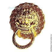 Материалы для творчества ручной работы. Ярмарка Мастеров - ручная работа Ручка с кольцом голова льва М-60. Handmade.