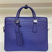 Сумки и аксессуары handmade. Livemaster - original item Briefcase-bag made of genuine crocodile leather, in dark blue color!. Handmade.