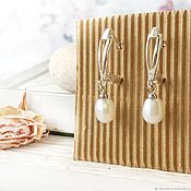 Украшения handmade. Livemaster - original item Earrings Pearl silver English lock pearl natural white. Handmade.