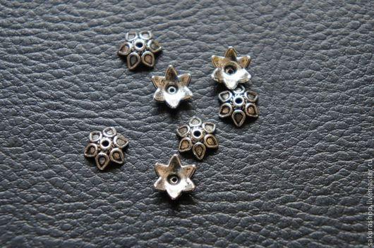 """Для украшений ручной работы. Ярмарка Мастеров - ручная работа. Купить Шапочка для бусин """"цветок"""" серебро 10 мм. Handmade."""