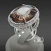 Украшения handmade. Livemaster - original item Ring with Topaz and CZ 925 sterling Silver. Exclusive.. Handmade.