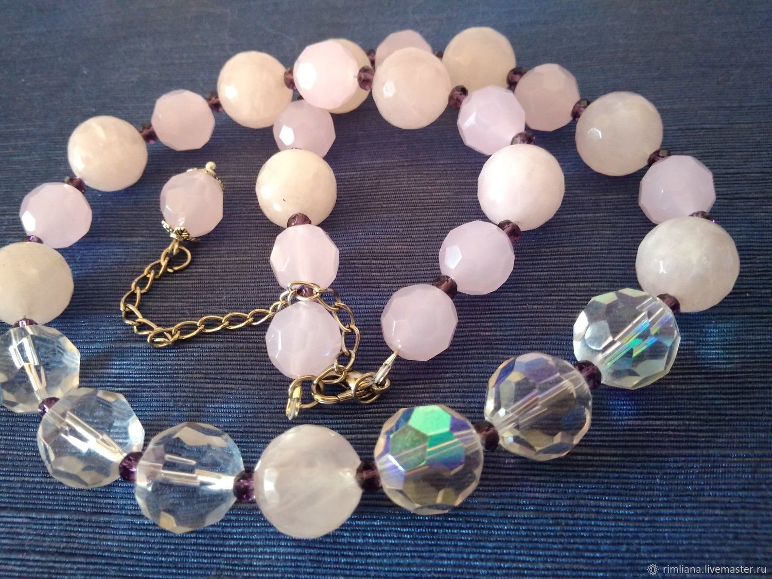 Beads 'Pink dawn' Natural stones, Necklace, Moscow,  Фото №1