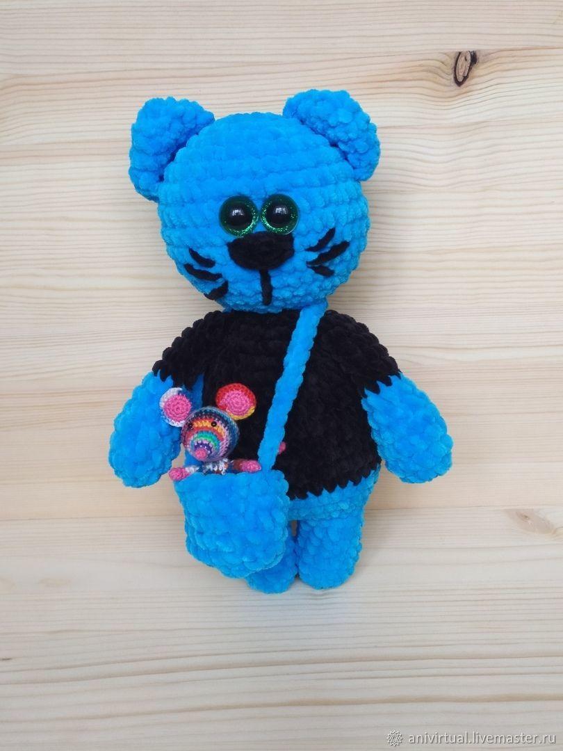 Плюшевый кот с мышкой-питомцем в сумке, Мягкие игрушки, Челябинск,  Фото №1