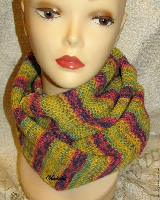 """Шали, палантины ручной работы. Ярмарка Мастеров - ручная работа. Купить Вязаный шарф-снуд """"Кленовый"""". Handmade. Разноцветный"""