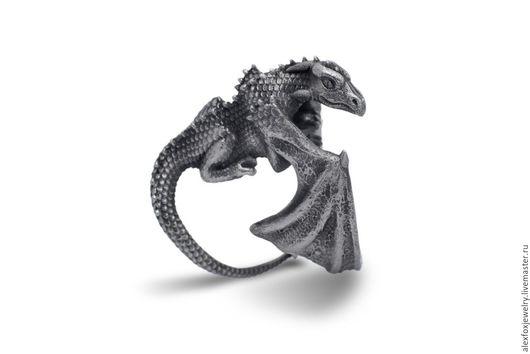 Кольца ручной работы. Ярмарка Мастеров - ручная работа. Купить Кольцо Дракон. Handmade. Дракон, серебро 925 пробы