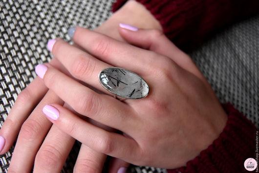 Кольца ручной работы. Ярмарка Мастеров - ручная работа. Купить Кольцо с кварцем-волосатиком. Handmade. Черный, кольцо с кварцем
