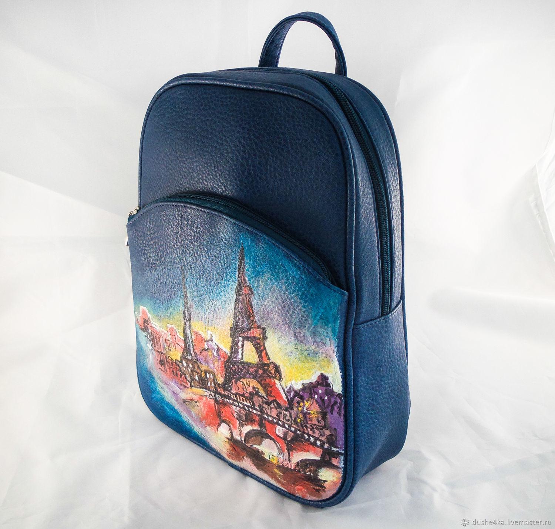 709ad0159299 Заказать Рюкзак женский дизайнерский из кожи с рисунком на заказ Париж. ...