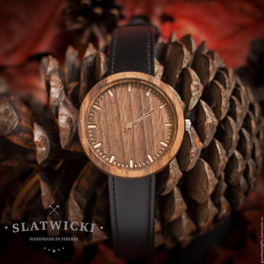 """Часы ручной работы. Ярмарка Мастеров - ручная работа. Купить Часы из дерева """"Slatwicki"""": американский орех. Handmade. Часы"""
