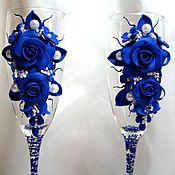 Бокалы ручной работы. Ярмарка Мастеров - ручная работа Свадебные бокалы (бокалы для шампанского). Handmade.