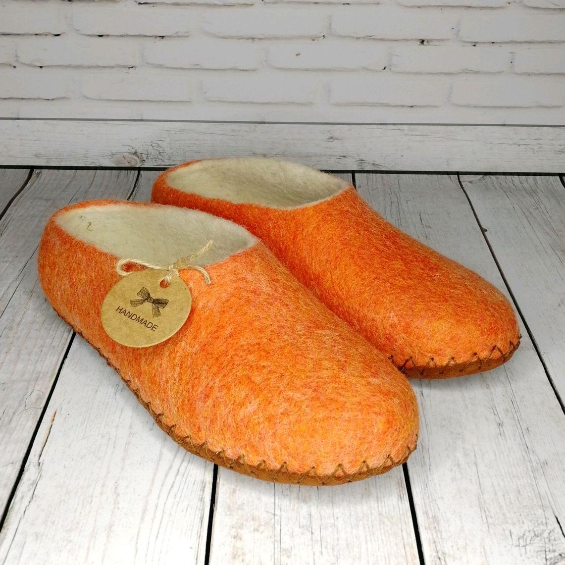 Тапочки женские валяные оранжевые на подошве- 38 размер, Тапочки, Раменское,  Фото №1