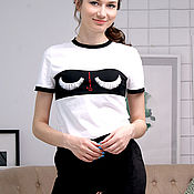 T-shirts handmade. Livemaster - original item Women`s summer t-shirt summer, eyelash t-shirt, cotton t-shirt. Handmade.