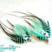 Украшения handmade. Livemaster - original item Mint delicate earrings with peacock feather.. Handmade.