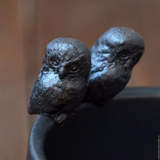 """Пиалы ручной работы. Ярмарка Мастеров - ручная работа. Купить Пиала """"Совы"""". Handmade. Комбинированный, черный, пиала с совой"""