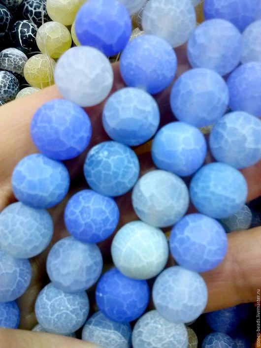 Агат `Кракле` матированные шар 10 мм. Цвета - голубой
