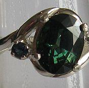 Параиба зеленый сапфир 2.14 карата &кольцо серебро 925 пробы размер 17