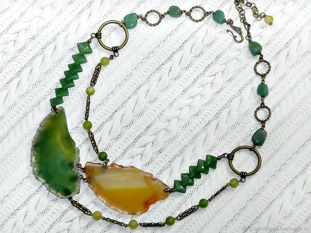 'Spring' necklace in jade and agate slices, Necklace, Voronezh,  Фото №1