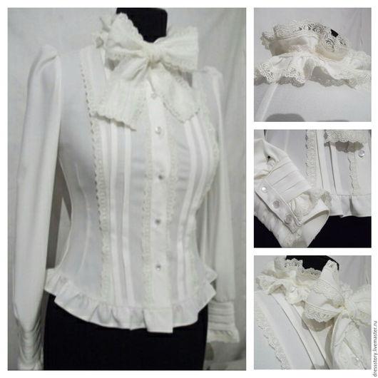 Блузки ручной работы. Ярмарка Мастеров - ручная работа. Купить Блузка из крепа Milky.. Handmade. Белый, блузка, блуза, кружево