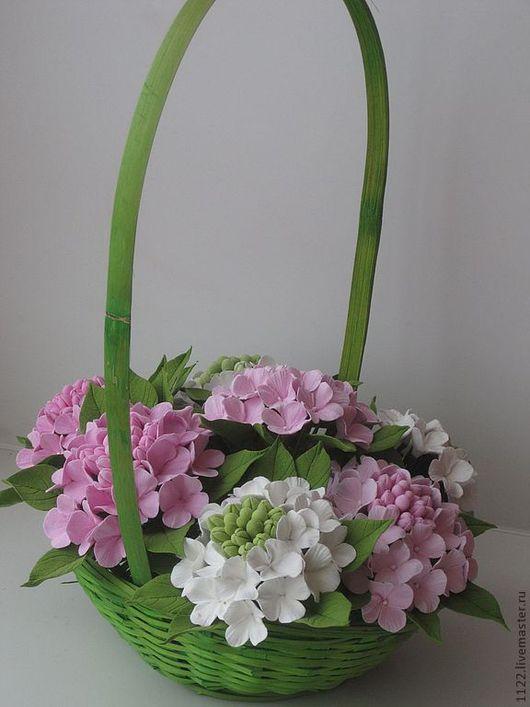 Искусственные растения ручной работы. Ярмарка Мастеров - ручная работа. Купить Корзина с гортензией. Handmade. Бледно-розовый