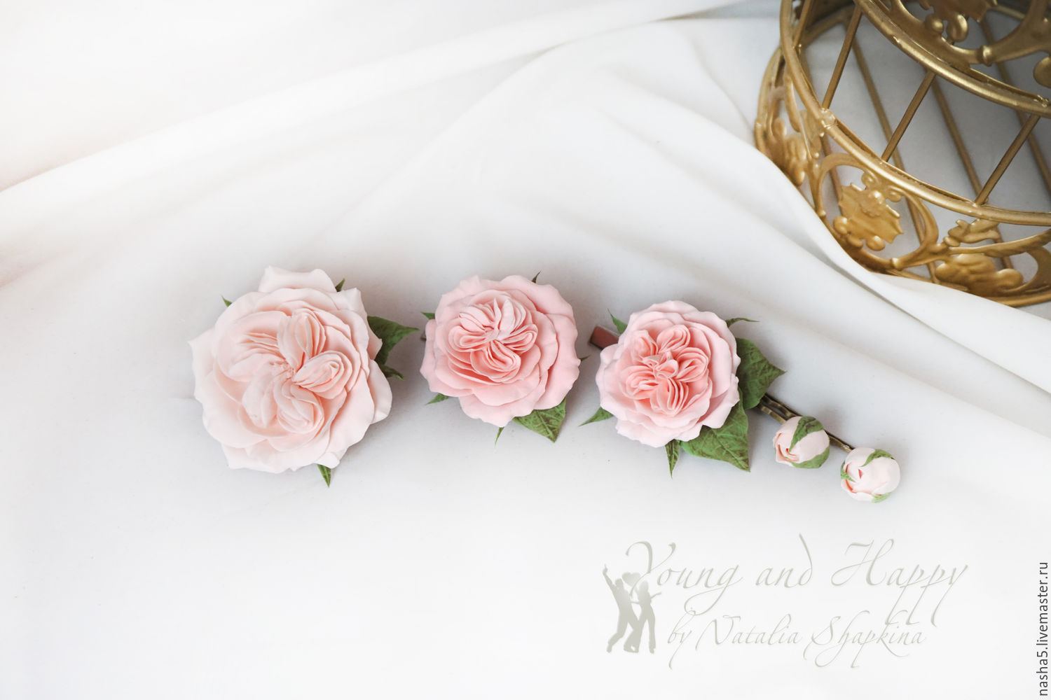 A set of pins in the hair style `Peony rose`