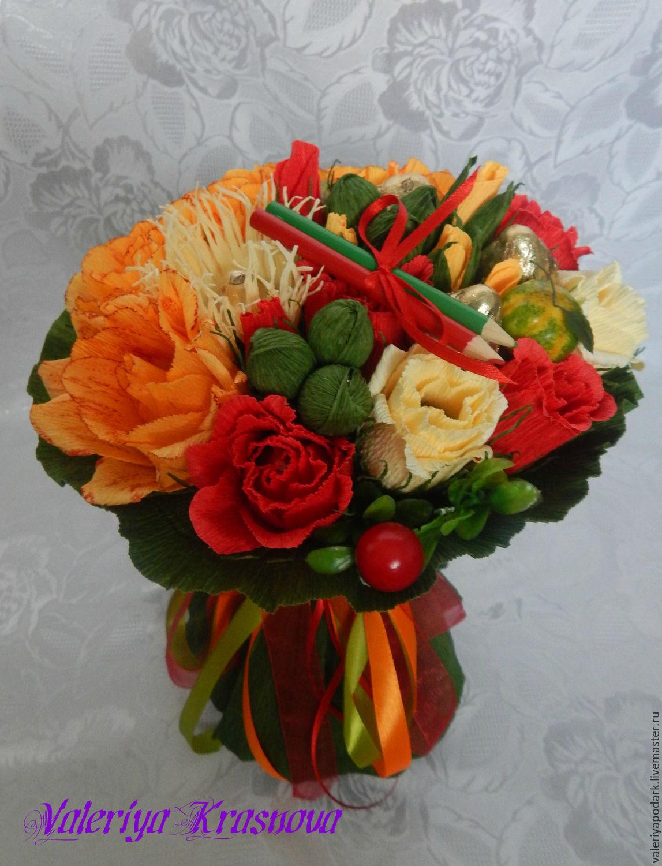 Готовые букеты к 1 сентября из конфет, цветы цветочном