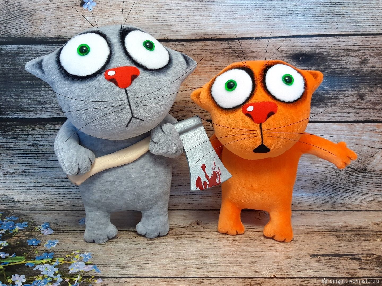Он первый начал! Мягкие игрушки коты по Васе Ложкину, Мягкие игрушки, Москва,  Фото №1