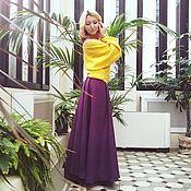 Одежда ручной работы. Ярмарка Мастеров - ручная работа Фиолетовая юбка из полушерсти-30%. Handmade.