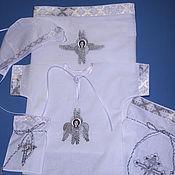 """Комплект для крещения ручной работы. Ярмарка Мастеров - ручная работа Комплект для крещения """"Ангел Серафим""""( серебро). Handmade."""