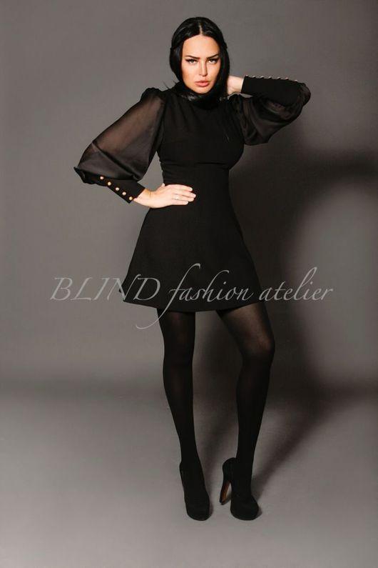 Платья ручной работы. Ярмарка Мастеров - ручная работа. Купить Платье с рукавами из шелка 00211. Handmade. Черный, трикотаж, шёлк