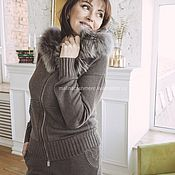 Suits handmade. Livemaster - original item ELIMINATION of Coffee cashmere suit with a hood with fur. Handmade.