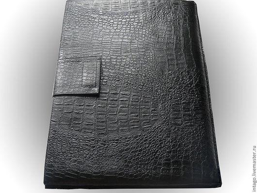 """Сумки для ноутбуков ручной работы. Ярмарка Мастеров - ручная работа. Купить Чехол для ноутбука""""Черный крокодил"""". Handmade. Черный, кожаный чехол"""