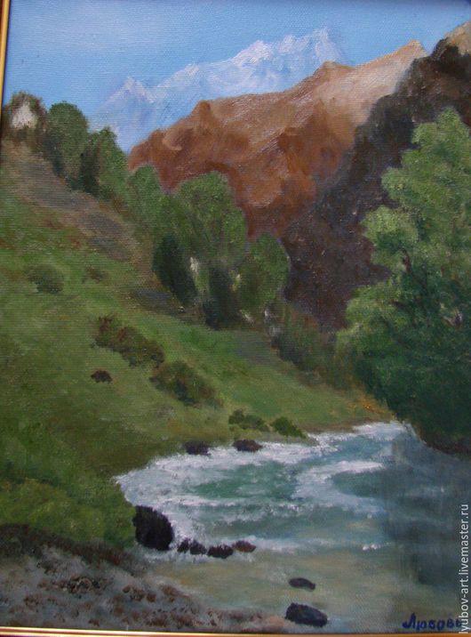 Пейзаж ручной работы. Ярмарка Мастеров - ручная работа. Купить Горная река.. Handmade. Зеленый, горы, горная река, лес