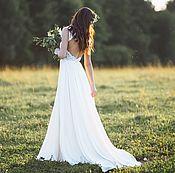 Свадебный салон ручной работы. Ярмарка Мастеров - ручная работа Свадебное платье цвета айвери (айвори) со шлейфом Адриана. Handmade.
