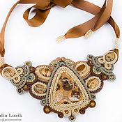 Украшения handmade. Livemaster - original item Soutache necklace `Warm sand` jasper brown beige soutache. Handmade.