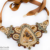 Украшения handmade. Livemaster - original item Soutache necklace `Warm sand` jasper brown beige soutache jewelry. Handmade.