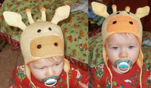 Шапки и шарфы ручной работы. Ярмарка Мастеров - ручная работа. Купить вазаный жираф. Handmade. Желтый, шапочка крючком