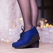 Обувь ручной работы handmade. Livemaster - original item Felted low shoes azure city 2. Handmade.