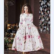 Одежда ручной работы. Ярмарка Мастеров - ручная работа Платье Шиповник миди теплое фланель хлопок белый Германия. Handmade.