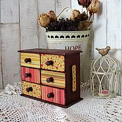 """Для дома и интерьера ручной работы. Ярмарка Мастеров - ручная работа Комодик для хранения  """"Ретро"""", комодик декупаж, дерево. Handmade."""