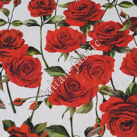 """Шитье ручной работы. Ярмарка Мастеров - ручная работа. Купить Жаккардовая ткань """"Розы красные"""", линия D&G. Handmade. жаккард"""