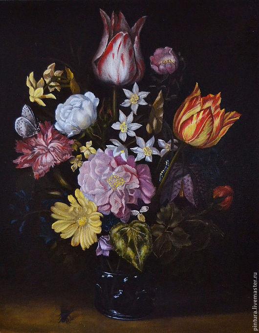Картины цветов ручной работы. Ярмарка Мастеров - ручная работа. Купить Голландские тюльпаны. Handmade. Коричневый, цветы, натюрморт, тюльпаны