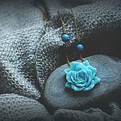 Украшения ручной работы. Ярмарка Мастеров - ручная работа кулон Azure rose. Handmade.