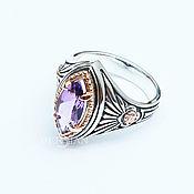 Украшения handmade. Livemaster - original item Silver ring with amethyst Marquise of the East. Handmade.