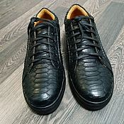 Обувь ручной работы handmade. Livemaster - original item Python leather sneakers in classic black.. Handmade.