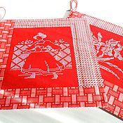 Для дома и интерьера ручной работы. Ярмарка Мастеров - ручная работа Красные салфетки на стол подставки под горячее недорогой подарок кухня. Handmade.