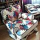Мебель ручной работы. Чехол лоскутный на кресло (пэчворк, лоскутное шитье, чехлы на мебель). Лоскутная мозаика (Ирина) (Pelargonia). Ярмарка Мастеров.