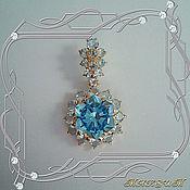 Украшения handmade. Livemaster - original item Snowflake (fantasy) - Au pendant gold 585, Topaz.. Handmade.