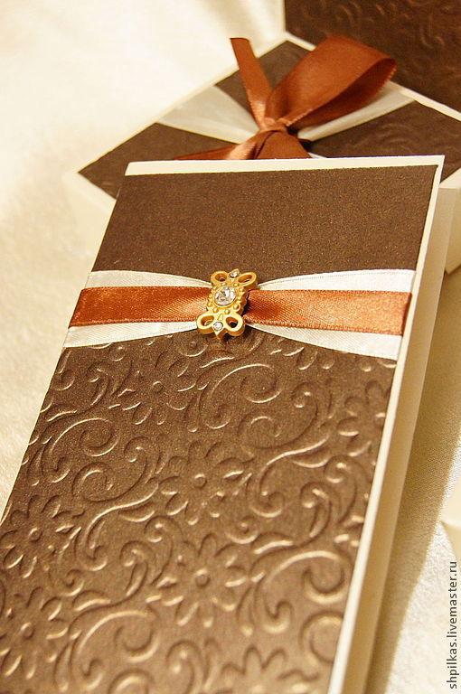 """Свадебные аксессуары ручной работы. Ярмарка Мастеров - ручная работа. Купить Приглашение на свадьбу """"Шоколад"""". Handmade. Коричневый, приглашение на свадьбу"""