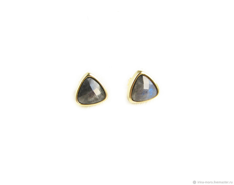 Labrador earrings, Triangle earrings with labrador stone, Stud earrings, Moscow,  Фото №1